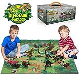 Anpro 15pcs Dinosaure Chiffres Jouet Plastique 5 Arbres 5 Rochers 1 Tapis de Jeu 50 Autocollants de Dinosaure Educatif Jouets pour Enfants Dinosaure Figurine