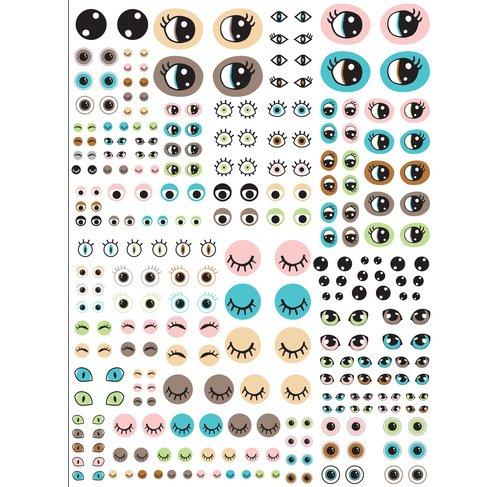 Décopatchpapier lustige Augen, verschiedene Größen, 735, 1 Blatt
