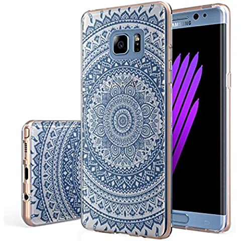 V. punto Samsung Galaxy Note 7 Custodia, in silicone trasparente, sottile trasparente in Gel Morbido TPU Custodia in silicone Cover con motivo tacco alto blu per SAMSUNG NOTE 7 Custodia (5.7), Full Circle