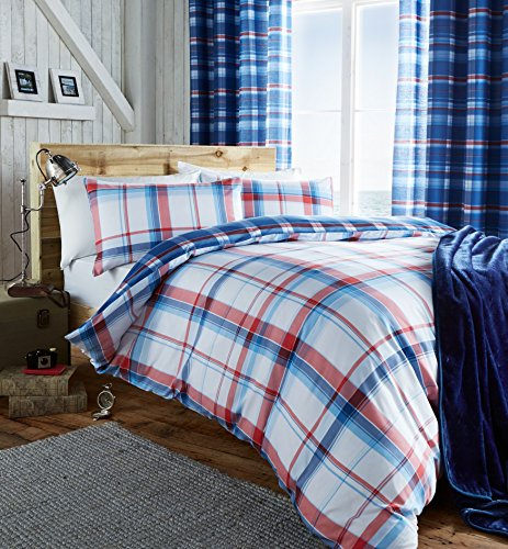 catherine-lansfield-st-ives-comprobar-cama-doble-azul-colcha-cama-doble-king