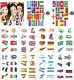 SueH Design Coppa Del Mondo 2018 Tatuaggi Temporanei, Impermeabile, World Cup, Tatuaggio Temporaneo Sticker Passeggero Tifoso Fan Bandiera Calcio 12 Foglie