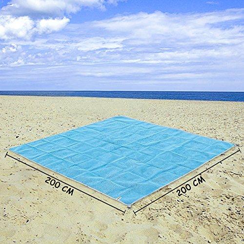 Alfombras de Playa Anti Arena (200X200 CM) y Toalla de Enfriamiento Beach Mat Manta de Picnic Resistente al Agua para la Playa Picnic Camping Al Aire libre VOOA