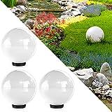 Serina Kugelleuchte 30cm Gartenleuchte Lampe Kugellampe Gartenlampe Außenleuchte Leuchte Weiss (3X 30cm Weiß)