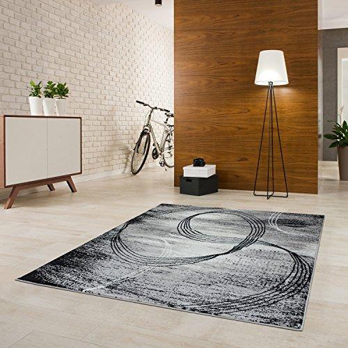 Designer Teppich Kurzflor Modern Verschiedene Größen Gemustert Schwarz Hellgrau Weiß (200x290)