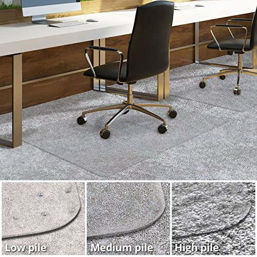 Fußmatte Gym Bodenbelag, (Casa Pura® PVC-Bodenschutzmatte für Teppich | Grundschutz für Büro und Home | Longlife Serie | verschiedene Größen, Vinyl, durchsichtig, 90x120cm with Lip | 3mm | Medium Pile)