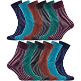12 PAIRS - Charles Wilson Essential Striped Socks (Multicoloured, 6-8.5)