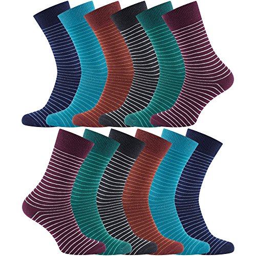 12 PAIRS - Charles Wilson Essential Striped Socks (Multicoloured, 9-11)