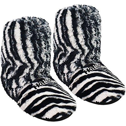 Original Hot Sox Supersoft Hoch Hausschuhe für Ofen & Mikrowelle Zebra