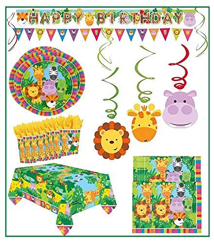 Libetui Megaset \'Dschungelfreunde\' Kindergeburtstag Deko Set Happy Birthday Deko Bunte Partykette Wimpel Girlande Spirale Dschungeltiere