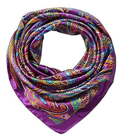corciova Women's Large Satin Square Silk Feeling Hair Scarf 35 x 35 inches Paisley Purple