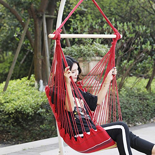 Hammock Chair - Hanging Rope Swing - Versatile - Hangs Indoors Or Outdoors Hammock Leisure Camping Swing Hammock Balcony Hammock Camping Portable Hammock Canvas Striped Hammock,Red