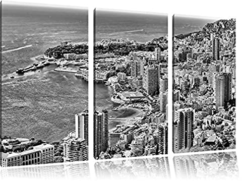 Monocrome, overlooking the magnificent Monte Carlo 3-piece canvas picture 120x80 image on canvas, XXL huge Pictures completely framed with stretcher, Art print on mural with frame gänstiger as a painting or an oil painting, no poster or