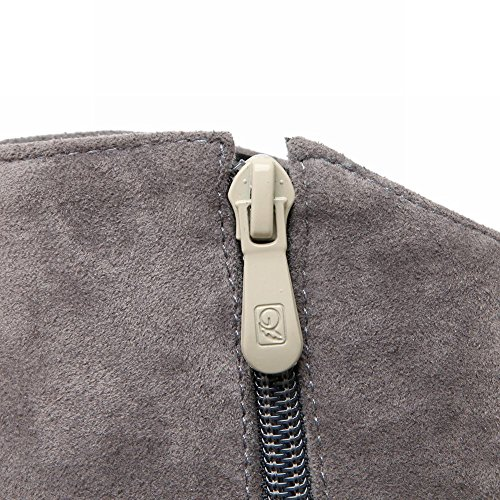 Mee Shoes Damen modern Kitten-Heel spitz Nubukleder Reißverschluss Knöchelstiefel Grau