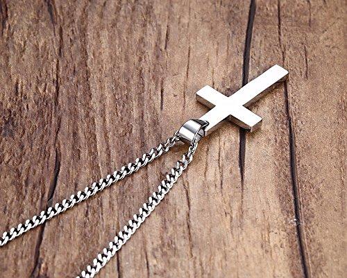 Lekima Bijoux Collier Pendentif Punk Rock Croix Religieuse Acier Inoxydable Chaîne Homme Femme Cadeau Couleur Noir Or Argent Argent