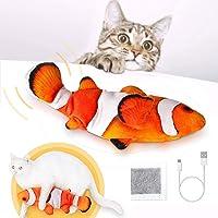 Simulations Fisch Elektrisch, Elektrische Plüsch Fisch mit Katzenminze, USB Aufladbar Flippity Fisch, Katzenspielzeug…