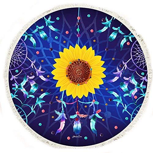 Aiserkly Tapiz Redondo Hippie para Acampar, Playa, Toalla Redonda de Mandala para Exteriores, Esterilla de Yoga, Mantel Bohemio Featur Grande Toalla de Viaje, poliéster, Tamaño Libre