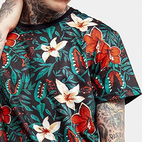 Honghu-Ilustracin-floral-de-manga-corta-Camiseta-Hombre-Tamao-M-Verde