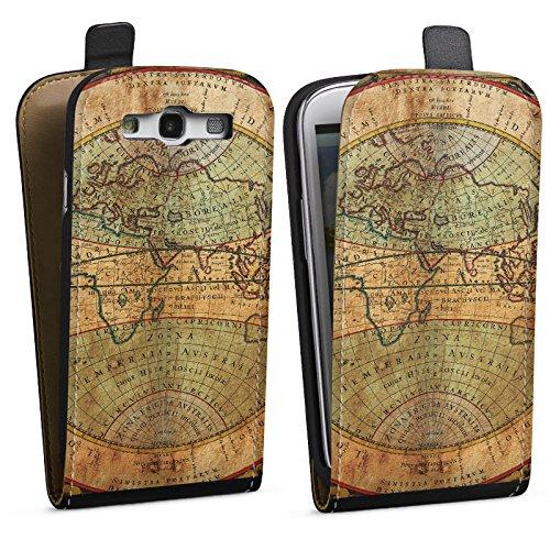 DeinDesign Tasche kompatibel mit Samsung Galaxy S3 Flip Case Hülle Antike Weltkarte Map Karte -