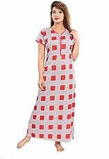 "Soulemo Beautiul Print Nighty/Night Gown/Nightwear/Nightdress Feeding Nighty with 13"" Long Zip. 739"