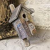 Vintage Vogelhaus 14x13x30,5cm Nistplatz Nistkasten Haus Vogel Handarbeit Shabby Eulen