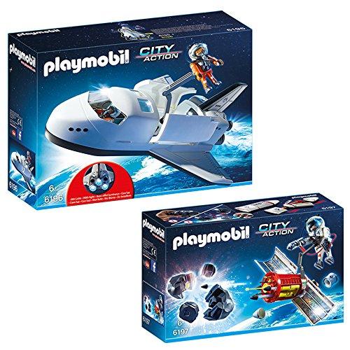 Preisvergleich Produktbild PLAYMOBIL® City Action Weltraum 2-tlg. Set 6196 6197 Space Shuttle + Meteoroiden-Zerstörer