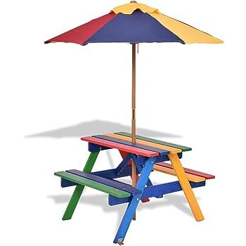Costway Garden Children Picnic Table Bench W Umbrella Outdoor Kids