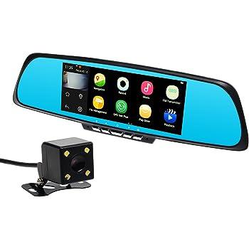Toguard 7 Zoll 1080P HD Auto Kamera Dashcam DVR Video Dash Kamera Recorder Wlan Smart Spiegel GPS Navigator mit Touchscreen, Rückfahrkamera, Dual Kamera Aufnahme