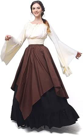 Nuoqi Mittelalterliches Kostüm Women Lange Ärmel Renaissance-Kleid