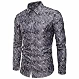 ZODOF Camise Hombre Manga Larga Originales Estampado de Flores Streetwear Casual Slim Fit Blusa Negocio Tops Camisa de Hombre