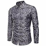 VEMOW Herbst Frühling Winter Herrenhemd Slim Fit Langarm Casual Tagesgeschäft Business Formale Taste Shirts Formale Mid-Season Top Bluse(Grau, EU-54/CN-XL)