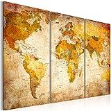 decomonkey | Bilder Weltkarte 120x80 cm | 3 Teilig | Leinwandbilder | Vlies Leinwand | Wandbilder | Wand | Bild auf Leinwand | Wandbild | Kunstdruck | Wanddeko | Welt Karte Landkarte Kontinente | DKB0001a3XL