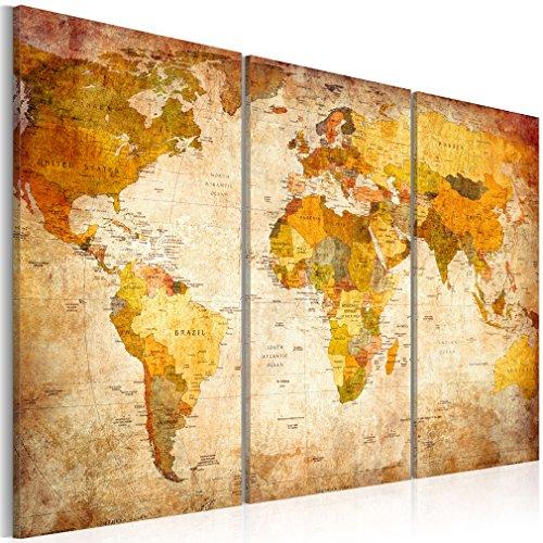 Wandbilder Weltkarte 120x80 cm - 3 Teilig | Leinwandbilder | Vlies Leinwand | Wand | Bild | Wandbild| Kunstdruck | Wanddeko | Bilder für Wohnzimmer Biüro Kinderzimer Küche Esszimmer Schlafzimmer Welt Karte Landkarte Kontinente | DKB0001a3XL