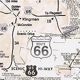 Beigefarbener Stoff mit Route 66 von Timeless Treasures