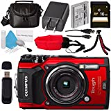 Olympus Tough TG-5 Digital Camera (Red) V104190RU000 + 16GB SDHC Card + Deluxe Cleaning Kit + Small Soft Carrying Case + Flexible Tripod + Camera Floating Strap + Card Reader Bundle