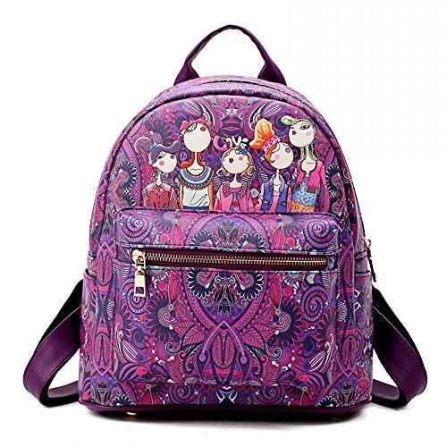 Fashion Damen Pu-leder (Damen Rucksack für Mädchen PU Leder Daypacks Mode Stadtrucksack Lila)