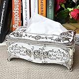 europäischer Stil Luxuriös Rose Tissue Box Kosmetiktücherboxen Halterabdeckung Galvanisieren verarbeiten Gewebehalter (silver&white)