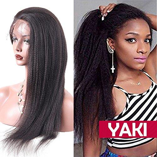 Perruque Naturelle Perruque Femme 100% Cheveux Humains Bresiliens Remy Raide Yaki - Lace Front Frontal Wig Naturel Human Hair (Densité: 130%, Longueur: 14\\