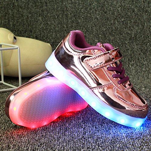 Wealsex Baskets Mode PU Cuir Vernis Lacet Scratch LED Lumière Clignotant 7 couleurs USB Rechargeable Enfant Unisexe Garçon Fille Violet