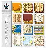 Ursus 71640099 - Premium Glitter Scrapbook paper Block 8, ca. 30,5 x 30,5 cm, 12 Blatt sortiert in 12 Motiven
