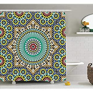 keiwiornb Moroccan Decor Collection, Architectural Glazed Decorative Wall Tile Ceramic Historical Travel Destinations Image, Polyester Fabric Bathroom Shower Curtain Set with Hooks,60W X 72L Inches