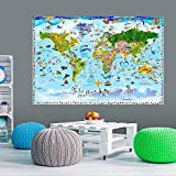 murando - XXL VLIES Poster Weltkarte für Kinder 150x100 cm Wandbild - Kunstdruck - Bild - Fototapete - Dekoration - Design Welt Karte Landkarte e-A-0102-c-a