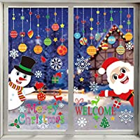 VEYLIN 118 Pieces Christmas Window Clings with Xmas Snowflakes Decals Removable PVC Staic Stickers for Christmas Window Display(8 Sheets)