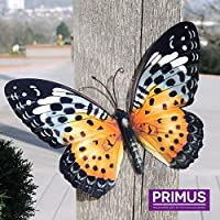 Large Metal Butterfly Orange and Black Outdoor Garden Home Decoration Wall Art by Primus by Primus