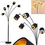 Lampadaire Alsen en métal et textile noir & or, lampe sur pied vintage à 5 spots pivotants et interrupteur sur le câble, haut