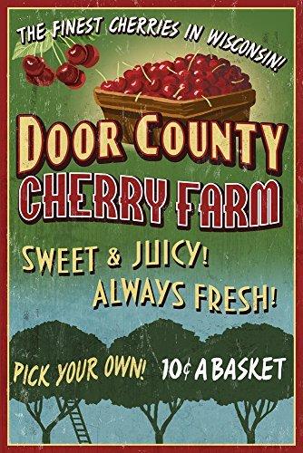 Home-cherry-kollektion (Tür County, Wisconsin-Cherry Vintage Schild, Papier, multi, 9 x 12 Art Print)