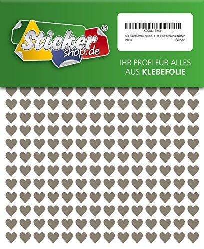 504 Klebeherzen, 10 mm, silber, aus PVC Folie, wetterfest, Herz Sticker Aufkleber