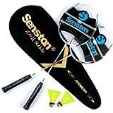 Senston 2 Pieces Carbon Alloy Badminton Set, lightweight 100% Graphite Shaft Badminton Racket, Various Sets Available…