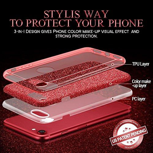 Coque iPhone 7 Noir, ESR iPhone 7 Coque Paillette Strass Brillante Bling Bling Glitter de Luxe, Housse Etui de Protection Silicone [Ultra Fine] [Anti Choc] pour Apple iPhone 7 4,7 pouces (Série Maquil Rouge