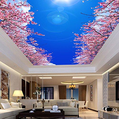 Mbwlkj 3D Fototapete Modernen Minimalistischen Schlafzimmer Wohnzimmer Decke Wandbild Tapete Blaue Und Weiße Kirsche Tapete-150Cmx100Cm - 826 Kirsche
