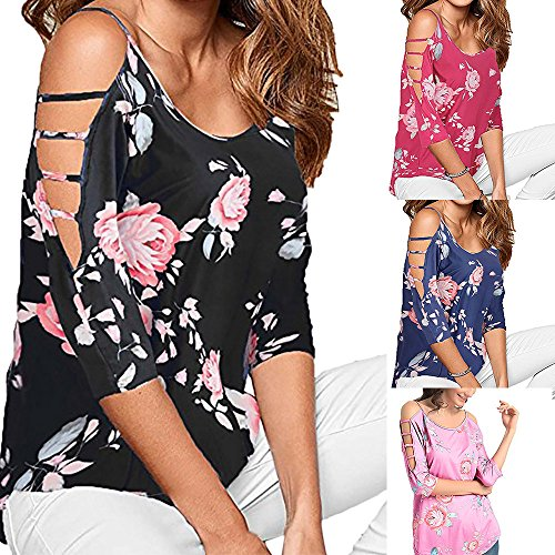 Womens Tops Short Sleeve Cold Off Shoulder Floral Printed Loose Hollowed Out T Casual T-Shirt Summer Tunic Crop Tops Clothes for Women Tee Shirts Blouse Clearance